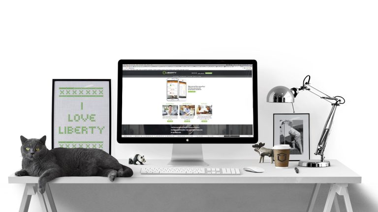 Liberty Security desk with black cat Mac and lamp with liberty website
