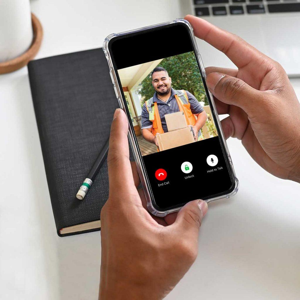 Iphone video doorbell package live video with hands
